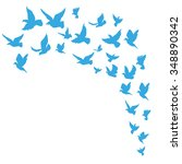 flock of birds. hand drawn... | Shutterstock .eps vector #348890342