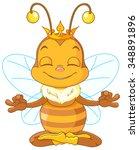 Cute Queen Bee Sitting In The...