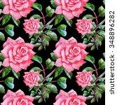 summer seamless watercolor... | Shutterstock . vector #348896282