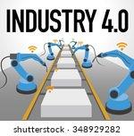 robot arms and conveyor belt ... | Shutterstock .eps vector #348929282