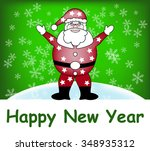 santa on a snow background   Shutterstock .eps vector #348935312