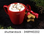 a mug of hot cocoa with... | Shutterstock . vector #348940202