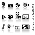 set of black media icons | Shutterstock .eps vector #34898005