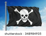 Pirate Flag Waving On Blue...