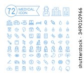 72 medical icons set over white ...