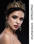 beautiful brunette girl with a... | Shutterstock . vector #349023962