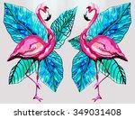 flamingo bird background | Shutterstock . vector #349031408