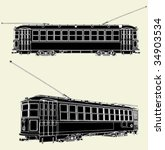 old tram trolley vector 01 | Shutterstock .eps vector #34903534