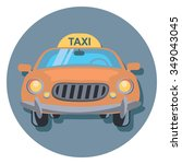 taxi circle icon with shadow | Shutterstock .eps vector #349043045