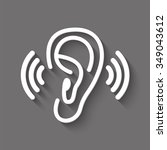 ear vector icon with shadow | Shutterstock .eps vector #349043612
