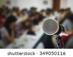 close up of microphone in... | Shutterstock . vector #349050116