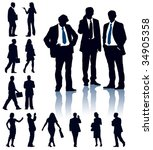 a set of business silhouettes....   Shutterstock .eps vector #34905358