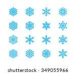set of snowflakes. 16 vector... | Shutterstock .eps vector #349055966