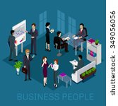 isometric business people on... | Shutterstock .eps vector #349056056