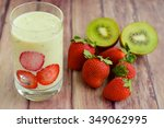 kiwi strawberry smoothie | Shutterstock . vector #349062995