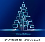 merry christmas techno. blue... | Shutterstock . vector #349081136