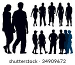 a set of people silhouettes.... | Shutterstock .eps vector #34909672