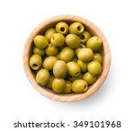 Pitted Green Olives In Bowl On...
