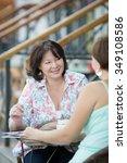 woman  having coffee break and... | Shutterstock . vector #349108586