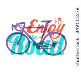 "vector bicycle with ""enjoy the... 