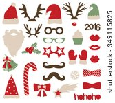 christmas photo booth and... | Shutterstock .eps vector #349115825