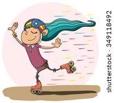 girl on retro roller skates.... | Shutterstock .eps vector #349118492