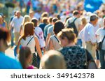 crowd of people walking on the... | Shutterstock . vector #349142378