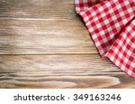 Red Picnic Cloth On Wooden...
