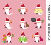 set of christmas santa claus.... | Shutterstock .eps vector #349165832