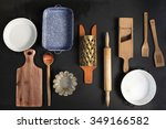 vintage cookware on the black... | Shutterstock . vector #349166582