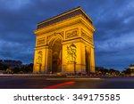 paris arc de triomphe at night  ... | Shutterstock . vector #349175585