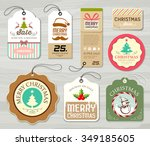 merry christmas colorful label... | Shutterstock .eps vector #349185605