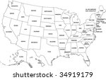 map of usa   vector | Shutterstock .eps vector #34919179