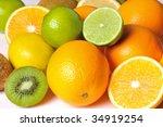 Orange Lemon Kiwi And Lime On A ...