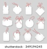 price tags and gift cards tied... | Shutterstock .eps vector #349194245