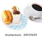 sponge   eclair  cake with cup...   Shutterstock . vector #34919659