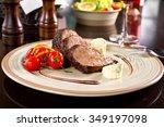 beef tournedo with cream blue... | Shutterstock . vector #349197098