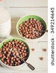 delicious breakfast of flakes. | Shutterstock . vector #349214645