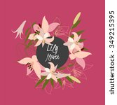 floral lily retro vintage... | Shutterstock .eps vector #349215395