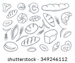 set of hand drawn bakery... | Shutterstock .eps vector #349246112