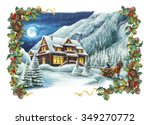 christmas winter happy scene...   Shutterstock . vector #349270772