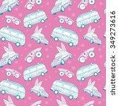 vector pink blue surfboards... | Shutterstock .eps vector #349273616