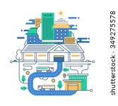 illustration of modern line... | Shutterstock . vector #349275578