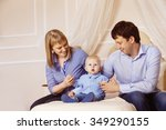 concept of happy family. father ... | Shutterstock . vector #349290155