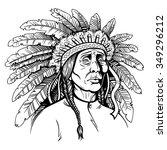 vector black and white native... | Shutterstock .eps vector #349296212