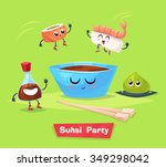 sushi party. two sushi jump... | Shutterstock .eps vector #349298042