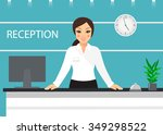 happy woman at the reception... | Shutterstock .eps vector #349298522
