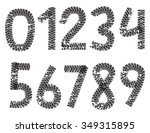 digits made from motorcycle... | Shutterstock . vector #349315895