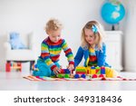 children playing with wooden... | Shutterstock . vector #349318436