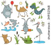 cartoon animals | Shutterstock .eps vector #34932568
